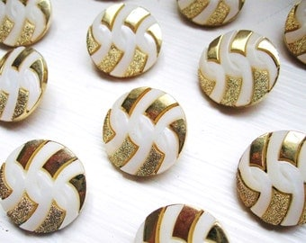White and Gold buttons with twists set of twelve