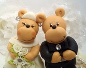 Bear wedding cake topper - lovely couple of bears with personalized banner