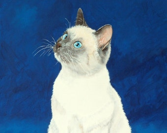 Custom cat portrait from your photo - hand painted 10x14 - siamese portrait
