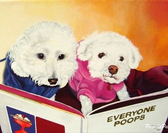 Two pets custom portrait from your photo hand painted on a 10x14 canvas
