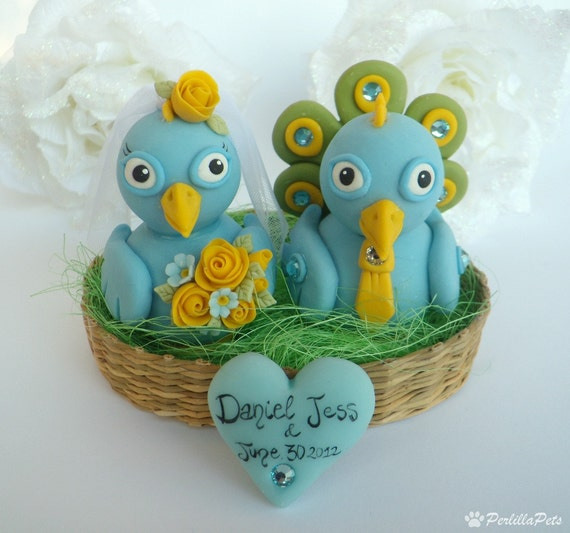 Peacock wedding cake topper - Love birds with nest and heart banner