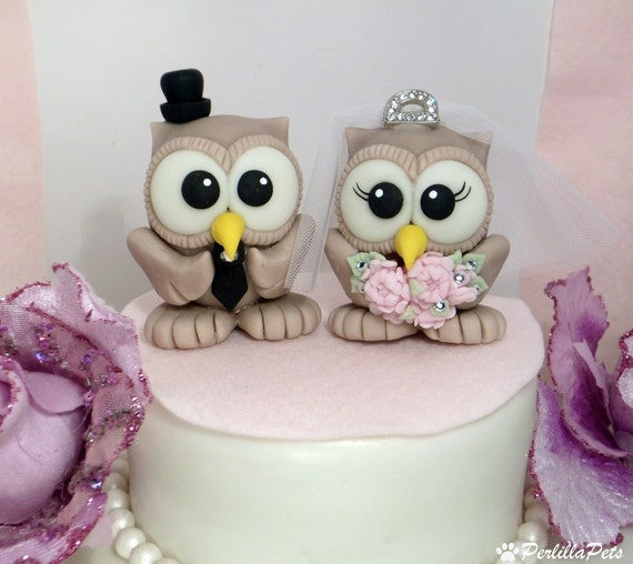 owl wedding cake topper with elegant tiara and by perlillapets. Black Bedroom Furniture Sets. Home Design Ideas