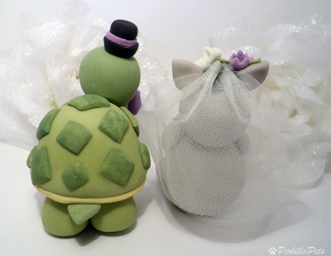 Turtle and donkey wedding cake topper custom by PerlillaPets