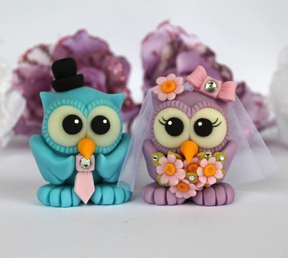 Custom Bride And Groom Love Birds Owl Wedding Cake By