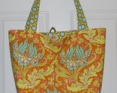Washable Reusable Fabric Grocery Market Tote Bag - Cinnamon Tulips Tote