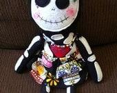 """Handmade Skeleton Day of the Dead Plush Dia de los Muertos """"Scully Faith Doll""""  Skeleton Skull Art Doll"""
