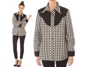 Vintage 70s // plaid western blouse  // black and white check // button-up // small medium