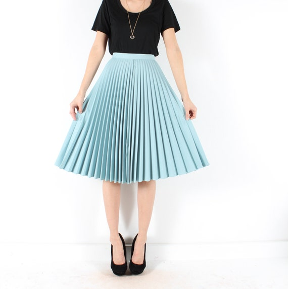 vintage 70s midi skirt accordion pleat by shopcollect