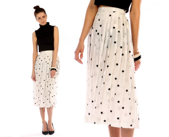 star print midi skirt // black and white // accordion pleat // vintage 80s // flowy // small