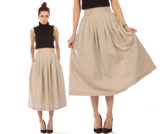 Vintage 80s pleated skirt // khaki maxi midi skirt // flowy