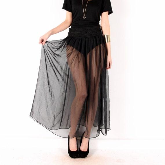 midi maxi skirt // sheer black // vintage 90s // flowy pleated // thick elastic waist // small medium