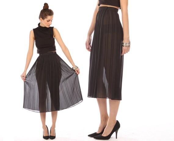 sheer black midi skirt // vintage 80s // accordion pleat // pleated skirt // wrap waist // small medium