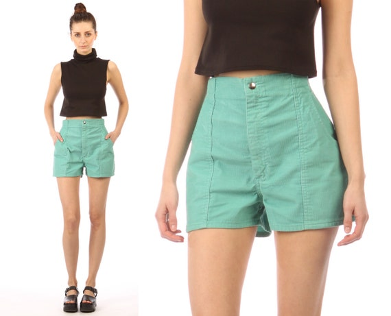 1970s corduroy shorts // vintage // high waist // seafoam mint green // medium