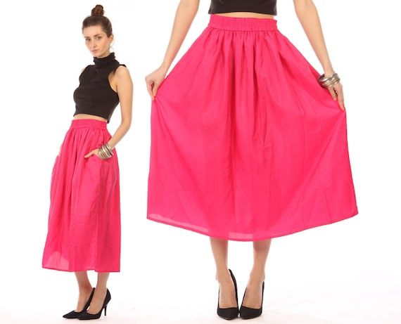 pink midi skirt // vintage 80s // bright neon pink // pleated flowy // maxi //  small
