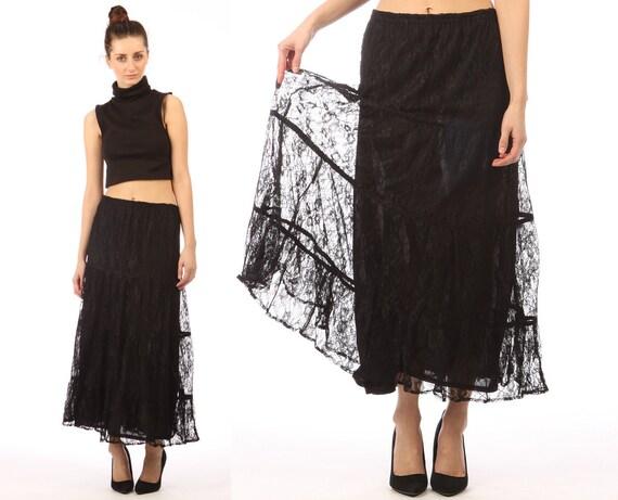 sheer lace skirt // black lace // vintage 90s midi maxi skirt // gypsy boho grunge // small medium