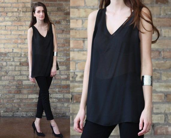 black sheer shirt // shell tank top tunic // vintage 90s  silky soft //  small medium