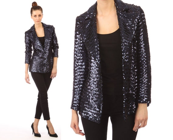 ON HOLD Vintage 1970s // navy blue sequin blazer // Donald Brooks Boutique // glam rocker  // xsmall small