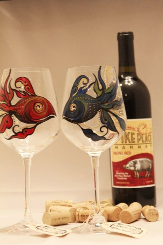 Hand Painted Wine Glass: Red Fish Blue Fish, set of 2