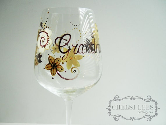 Hand Painted Wine Glass: Customized Floral Design