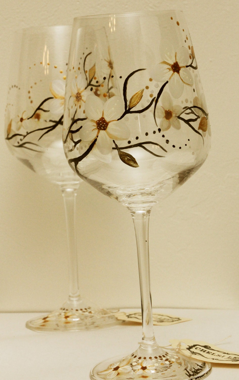 Hand Painted Wine Glass Floral Design Pearl By