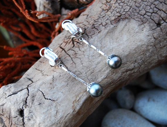 Diamond, Black Tahitian Pearls & 14K White Gold Earrings