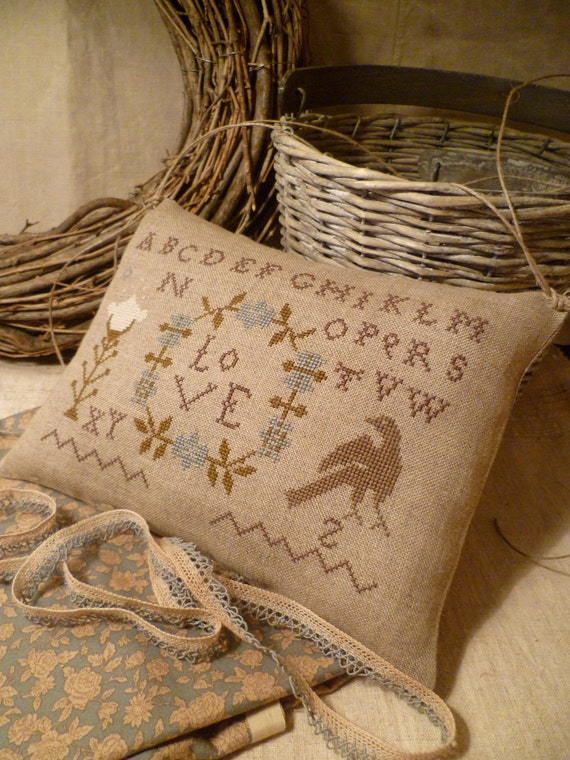LOVE Pillow, Pincushion, PRIMITIVE Cross Stitch Stacey Nash OOAK