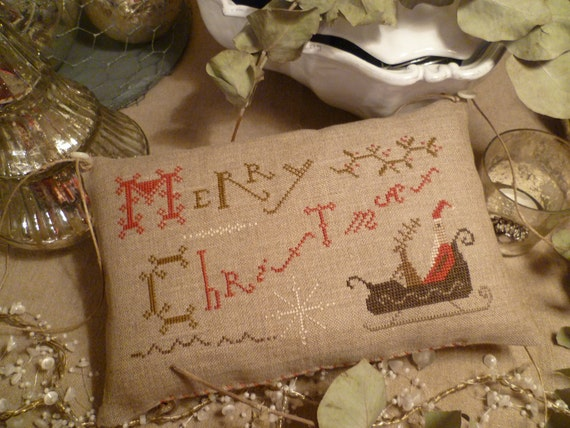 MERRY CHRISTMAS  Hanging Sampler  Primitive  Pillow  Pineberry Lane  Completed cross stitched Pinkeep OOAK