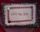 """Bookshelf  Pillow """"Welcome Home"""" Theme"""