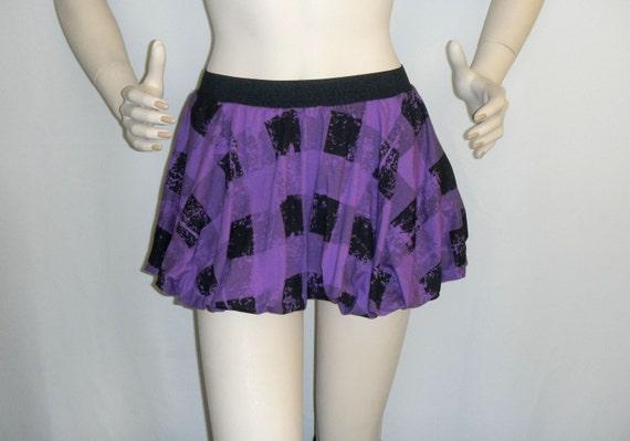 Plaid bubble skirt/ Mini Bubble skirt / purple & black bubble skirt / XS bubble skirt
