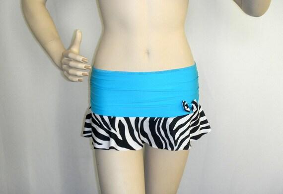 FOR KATE,,express mail////Adult Micro Mini Skirt / Zebra print & blue / Xs  /gathered