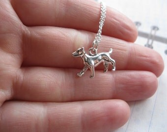 Silver Dog Charm Necklace, Memorial        Jewlry