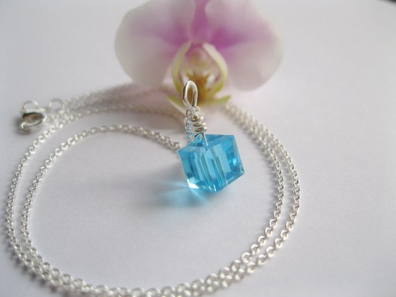 Sale..Simple Square Necklace, Geometric Jewelery,Swarovski Blue Crystal, Sterling Silver Chain Necklace