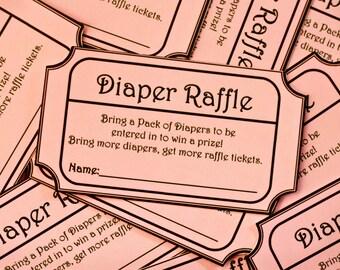 INSTANT DOWNLOAD- Pink Printable Baby Shower Diaper Raffle Ticket