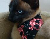 Cat Bandana - Red and Black Skulls and Hearts