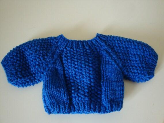 Teddy Bear Sweater - Hand knitted - Royal Blue Moss Stitch