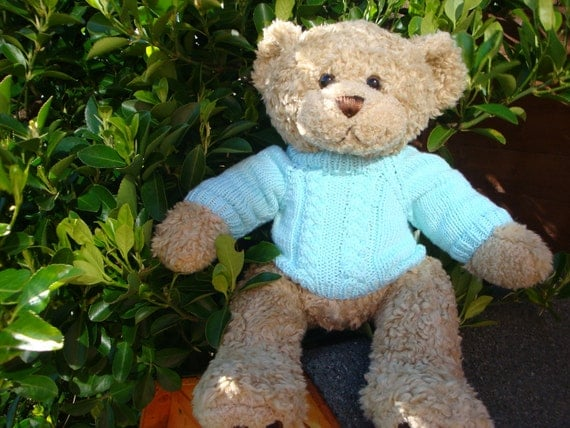 Teddy Bear Sweater - Hand knitted - Mint colour Aran/Cable design - fits Build a Bear