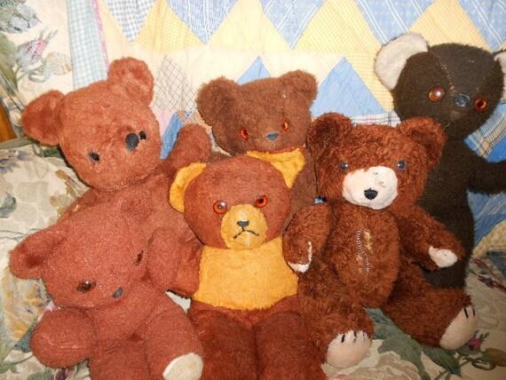 Vintage Teddy Bears  /  antique bears / mid century / bear collection