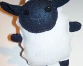 "Handmade Felt Sheep Lamb Plush Plushie -- 5"" black & white -- Cute, Soft, Customizable"