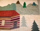 Summer Cabin, Log Cabin, Wall Art, Quilted Applique, Art Quilt, Wall Hanging