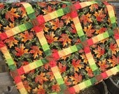 Autumn Leaves Quilt, Fall Leaves, Fall Table Topper, Wall Hanging, Bright Colored Quilt, Orange Quilt, Green Quilt, Yellow Quilt