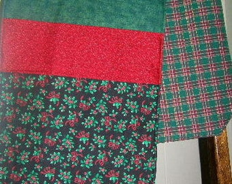Reversible Christmas Table Runner, Holly Table Runner, Plaid Table Runner, Red and Green Table Runner