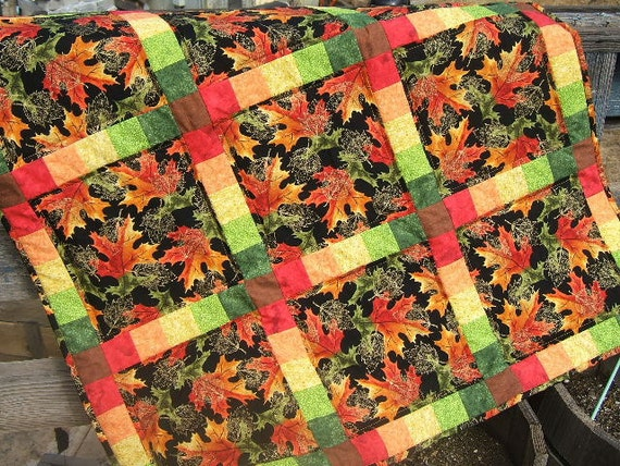 Autumn Leaves Quilt, Fall Leaves, Leaves Quilt, Table Topper, Wall Hanging, Bright Colored Quilt, Orange Quilt, Green Quilt, Yellow Quilt