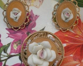 EASTER CLEARANCE Porcelain flower brooch and earrings with aurora borealis rhinestones