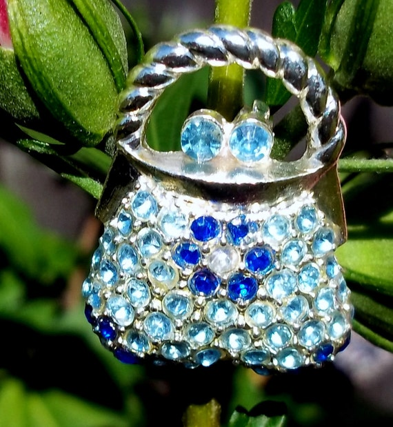 Vintage silver purse brooch with blue rhinestone CLEARANCE PRICE