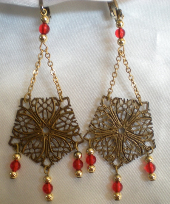 Filigree dangle clip earrings with gold and red beads clearance price