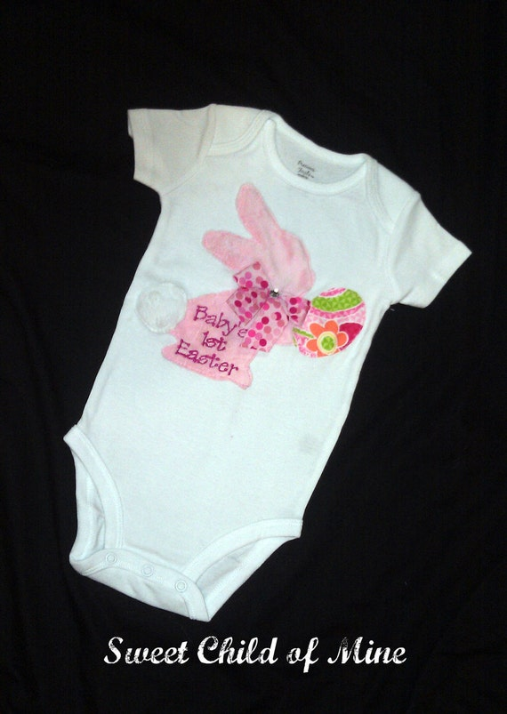 Baby's First Easter Bunny Onesie Bodysuit FREE PERSONALIZATION...Easter Onesie...Easter Bunny Onesie