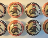 Handmade Red and Brown Sock Monkey Dresser Drawer Knobs - Set of 8
