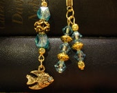 Light Blue Crystal and Gold Beaded Bookmark With Fish Charm