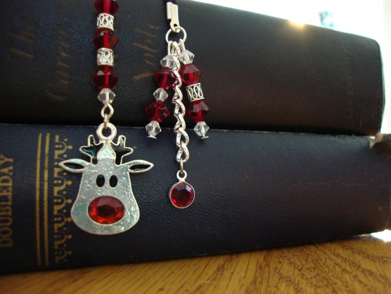 Red and Silver Beaded Bookmark With Jeweled Reindeer Charm