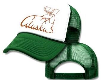 ALASKA MOOSE SCRIPT Mesh Trucker Hat Cap